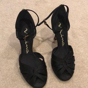 Nina black matte satin dress heels